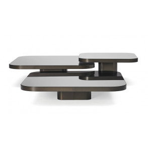 Bow Coffee Table brass burnished 100x100
