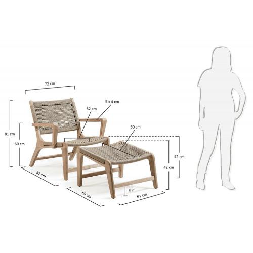 Bastien fauteuil met hocker