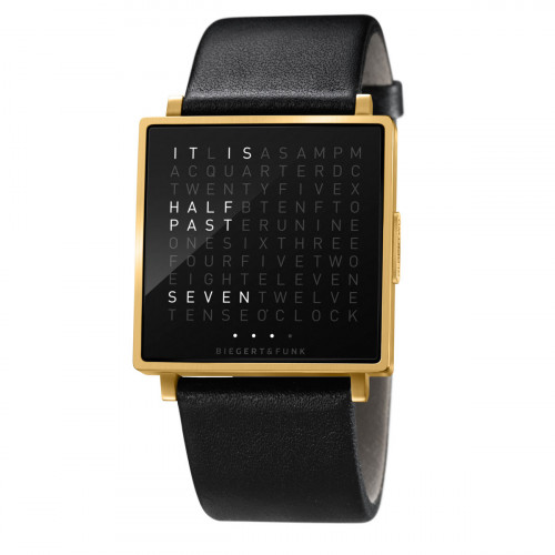 Qlocktwo W 35 GOLD BLACK