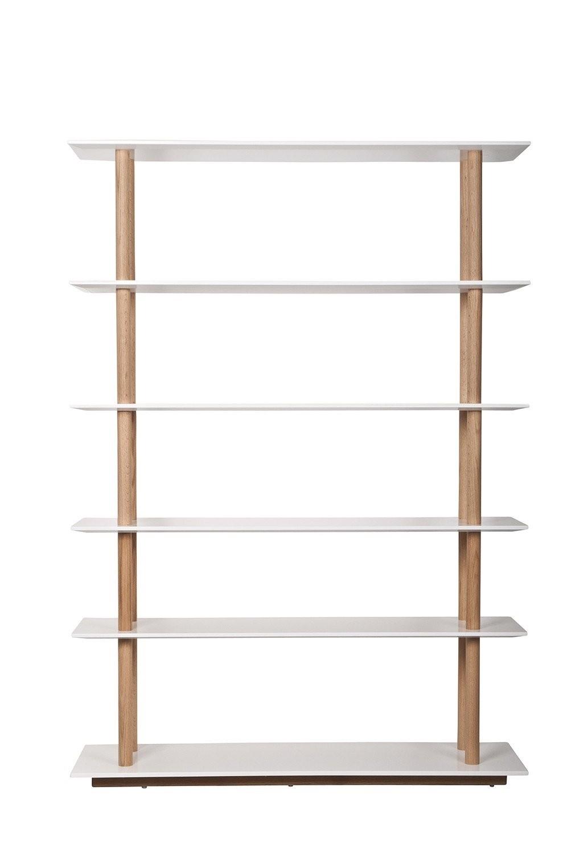 high on wood bookshelf